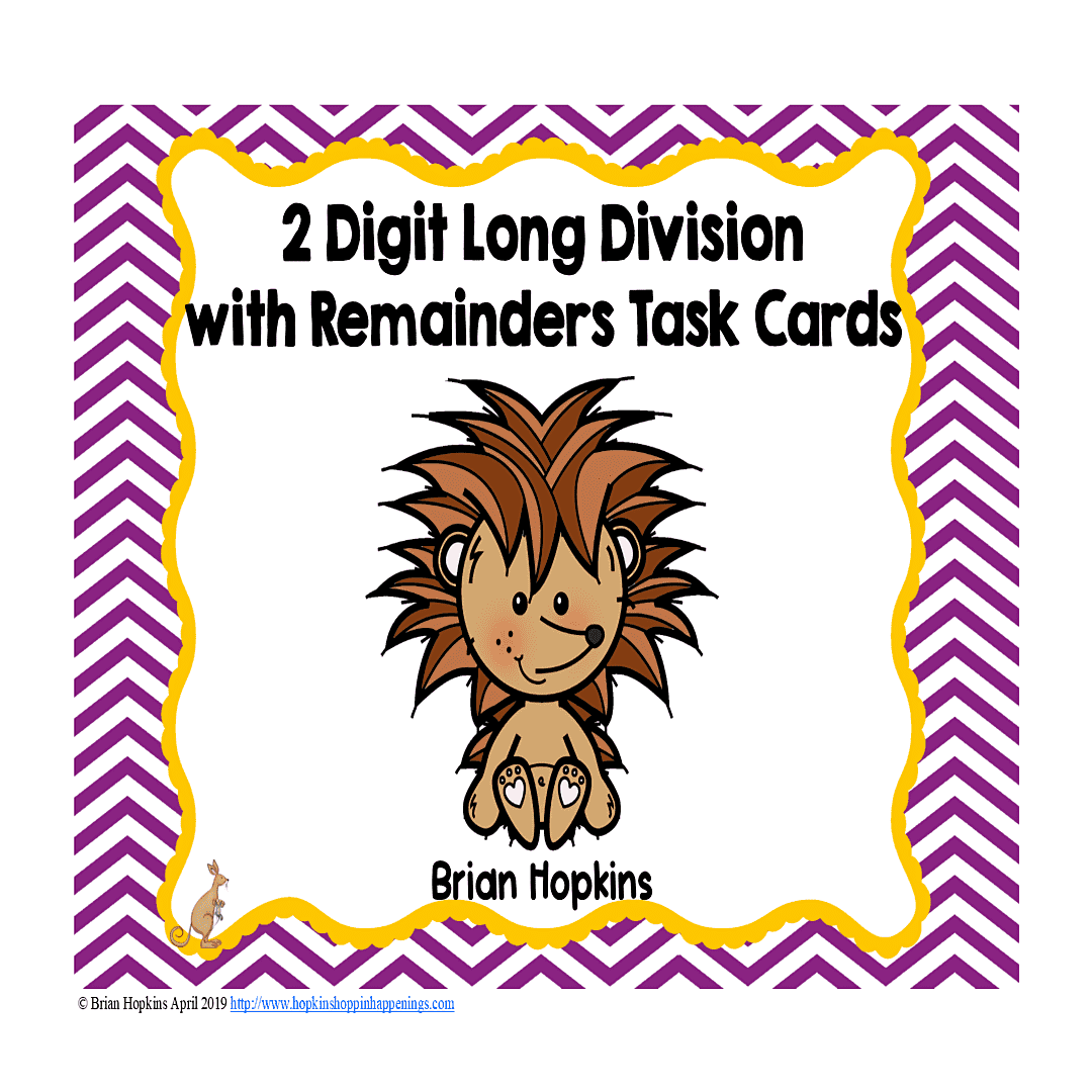 Hedgehogs 2 Digit Long Division With Remainders Task Cards