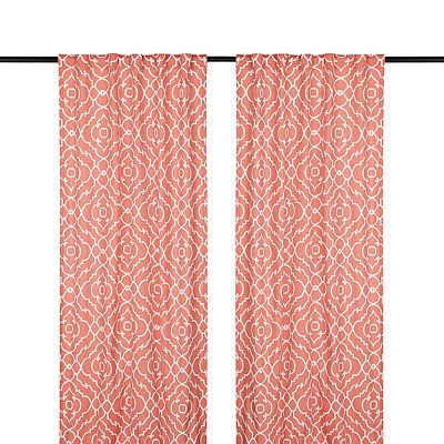 Cannes Coral Curtain Panel Set 108 In Coral Curtains