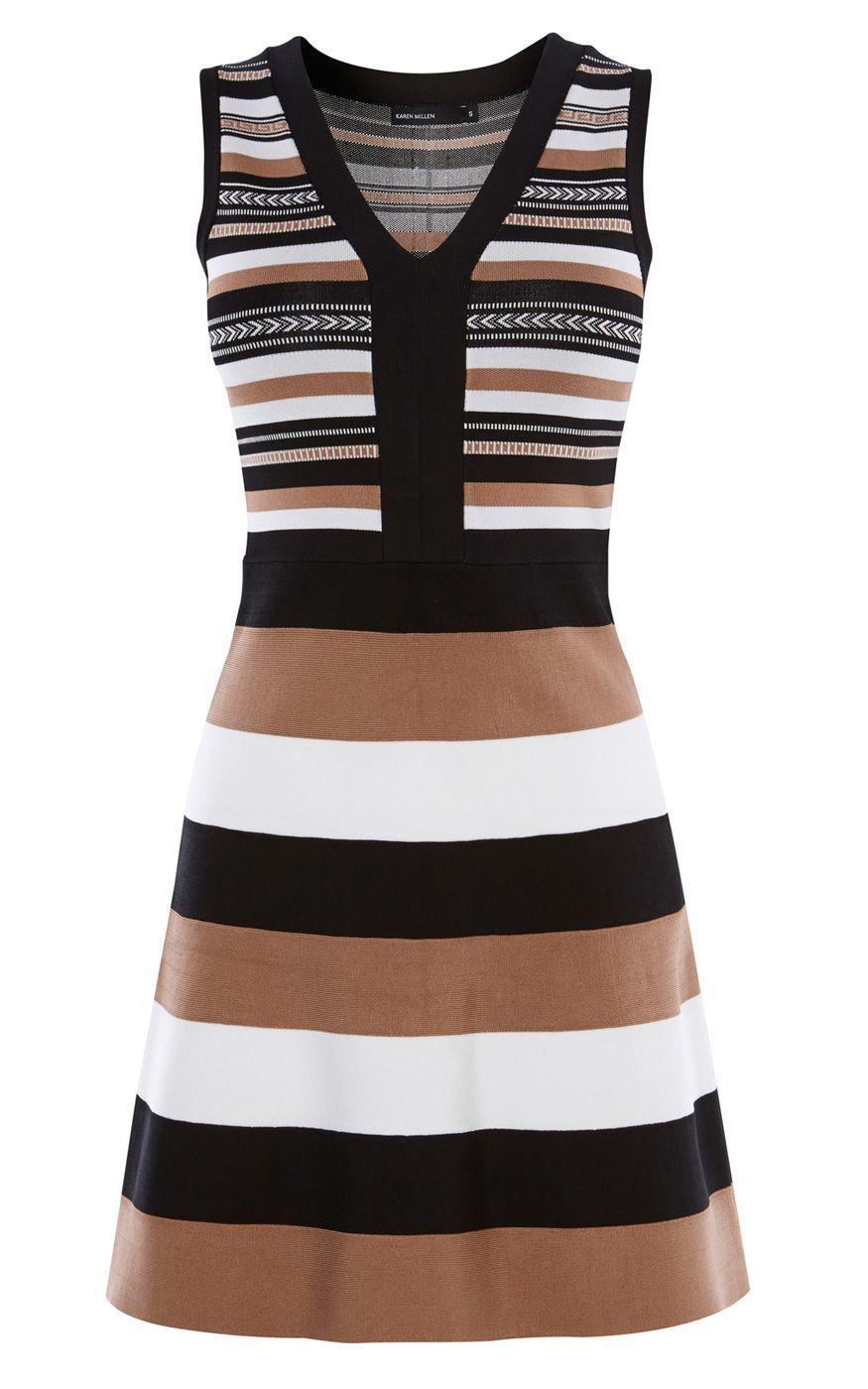 33e6ca3e3b Karen Millen | Brown Striped Bandage-knit Dress | Lyst | Outfits in ...