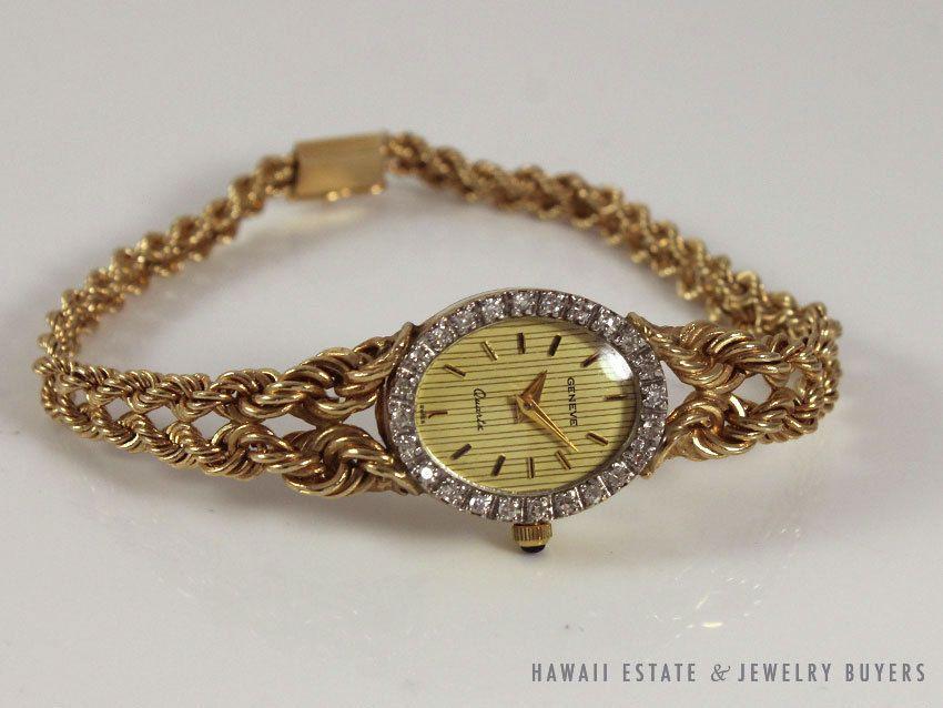 Vintage Geneve 14k Yellow Gold Diamond Bezel Oval Case