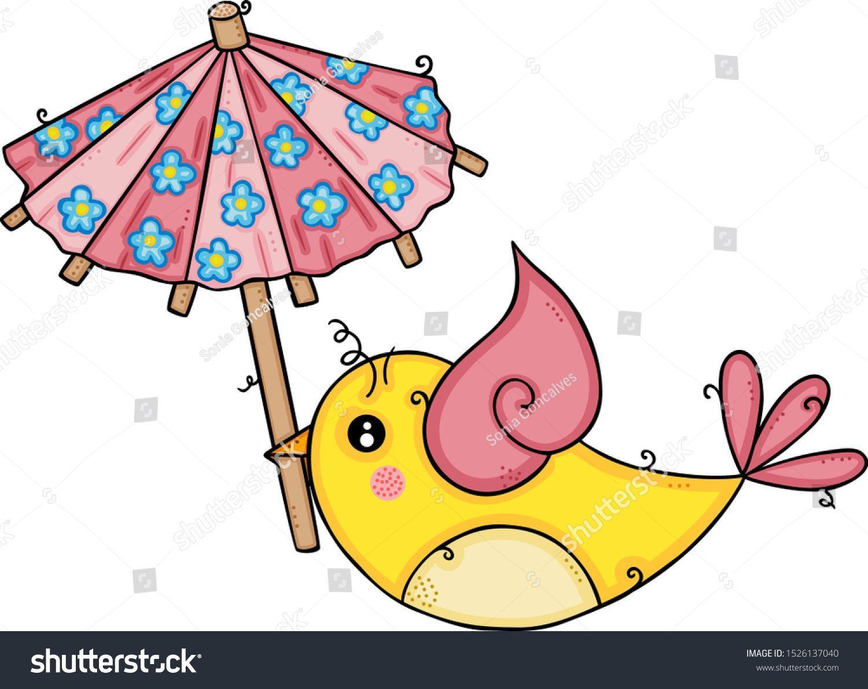 Vector de stock (libre de regalías) sobre Cute Yellow Bird Flying Holding Small1526137040 #smallumbrella Cute yellow bird flying holding a small umbrella #smallumbrella