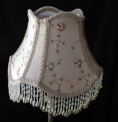 Old Fashioned Lamp Shade: Vintage Table Lampshade - Victorian Lamp Shade - Beaded Shade,Lighting