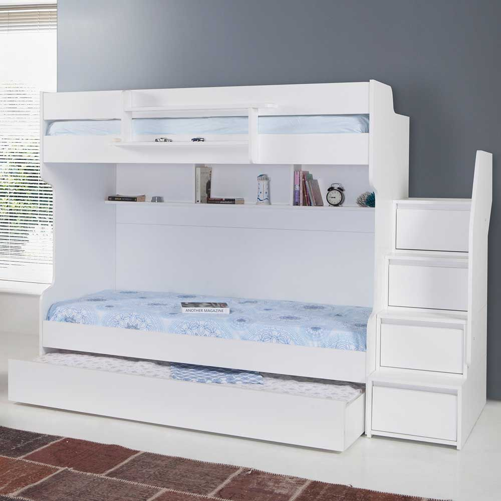 Best Brave White Modern Bunk Bed With A Trundle Bed Modern 640 x 480
