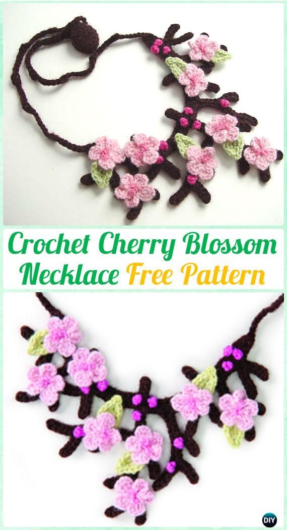 Crochet Cherry Blossom Necklace Free Pattern Crochet Jewelry