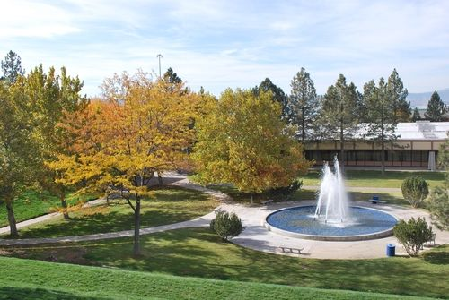 View from the CU balcony overlooking the Fountain and Owens Hall on Oregon Tech campus.