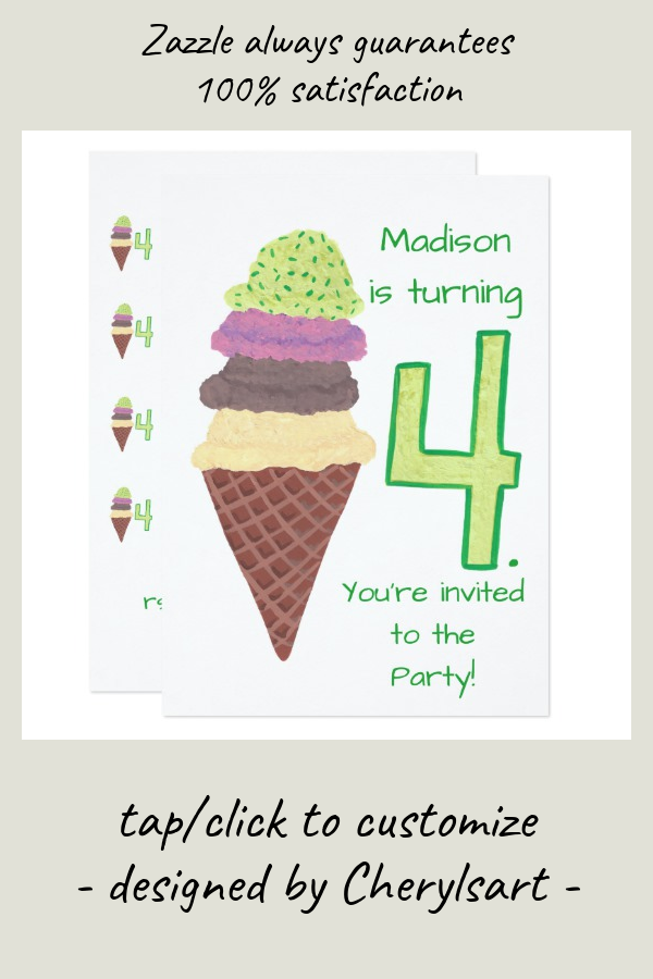 4 Scoops of Ice Cream Birthday Party Invitations | Zazzle.com #icecreambirthdayparty