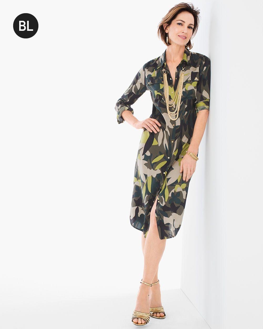 fa118d9560ee1d Chico s Women s Black Label Camo Shirt Dress