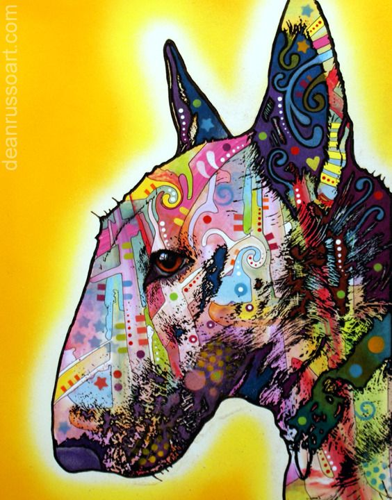 Bull Terrier By Dean Russo The Artful Dog Pinterest Bull - Bull terrier art