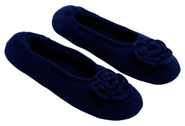 Cashmere-Blend Rosette Slippers, Navy