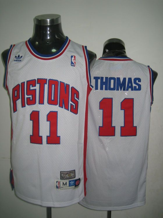 Adidas NBA Detroit Pistons 11 Isiah Thomas Swingman Throwback White Jersey a854f3508