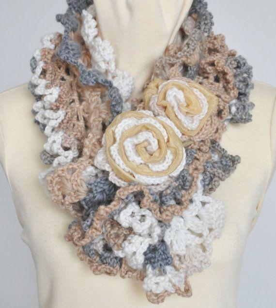 RUFFLE - Cream - Crochet Multicolor Ruffle Scarf WZ Rose Applique ...