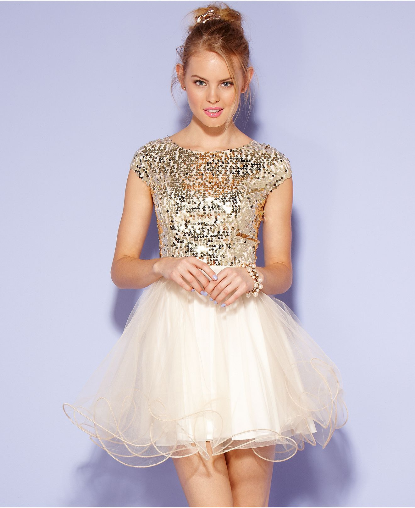 Prom dress trends...short...Trixxi Juniors Dress, Cap Sleeve ...