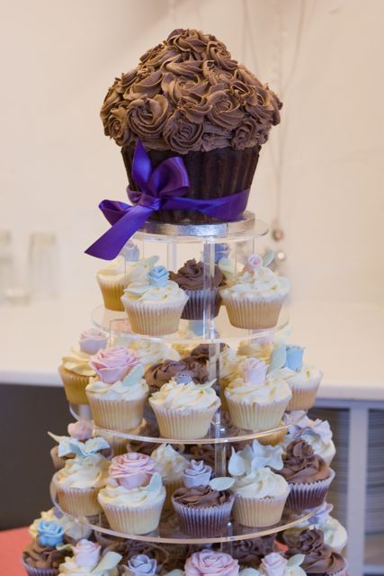 Vintage and Cake: Lovely Giant Chocolate Wedding Cupcake Tower ...