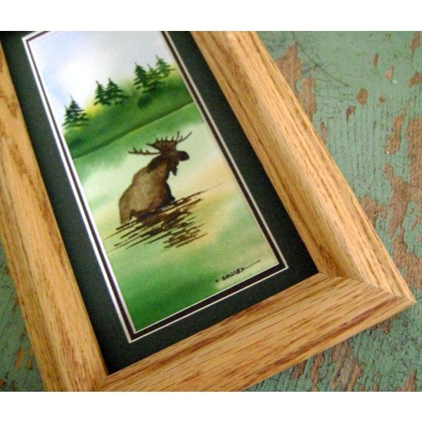 Fall Moose wading through the water watercolor framed painting ($28) ❤ liked on Polyvore featuring home, home decor, wall art, water painting, matte painting, lake home decor, water color painting and water colour painting