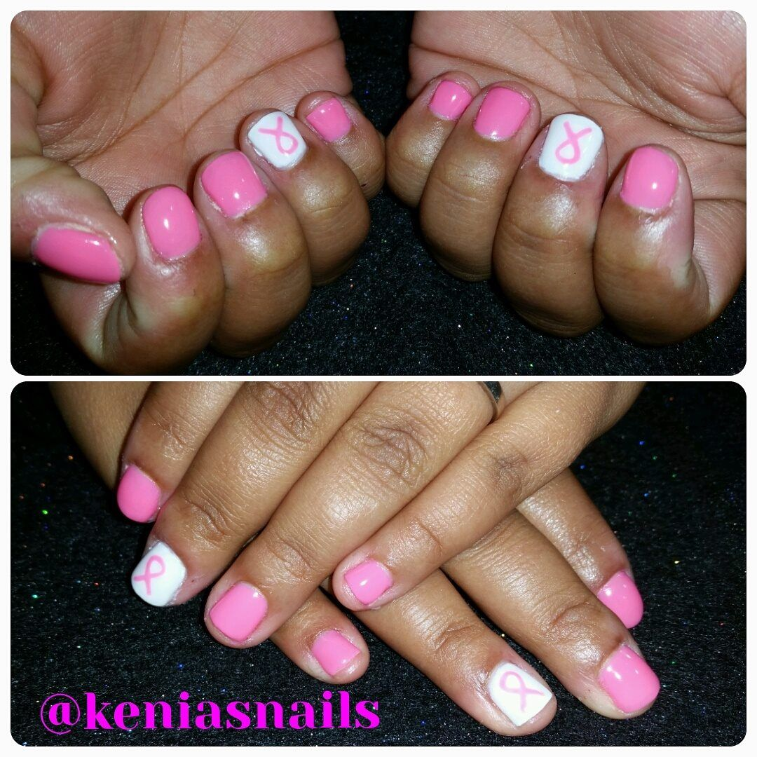 Nail Art By Kenia Breastcancerawareness Pinkandwhite Gelnails Gel Nails Nails Spa Salon