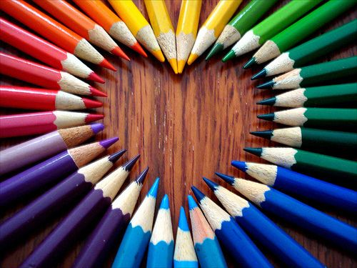 Color pencil hearts. | Rainbow, Rainbow colors, Pencil