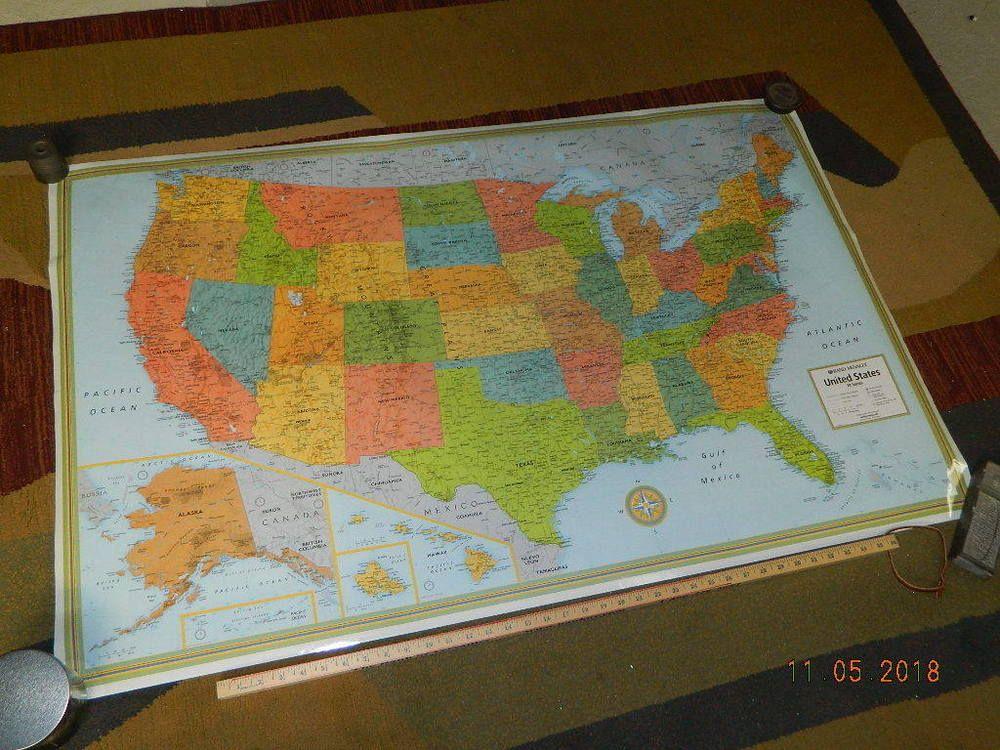 Large Laminated Us Map.Large Laminated Usa Map Rand Mcnally M Series 50 X 32 Wall Poster