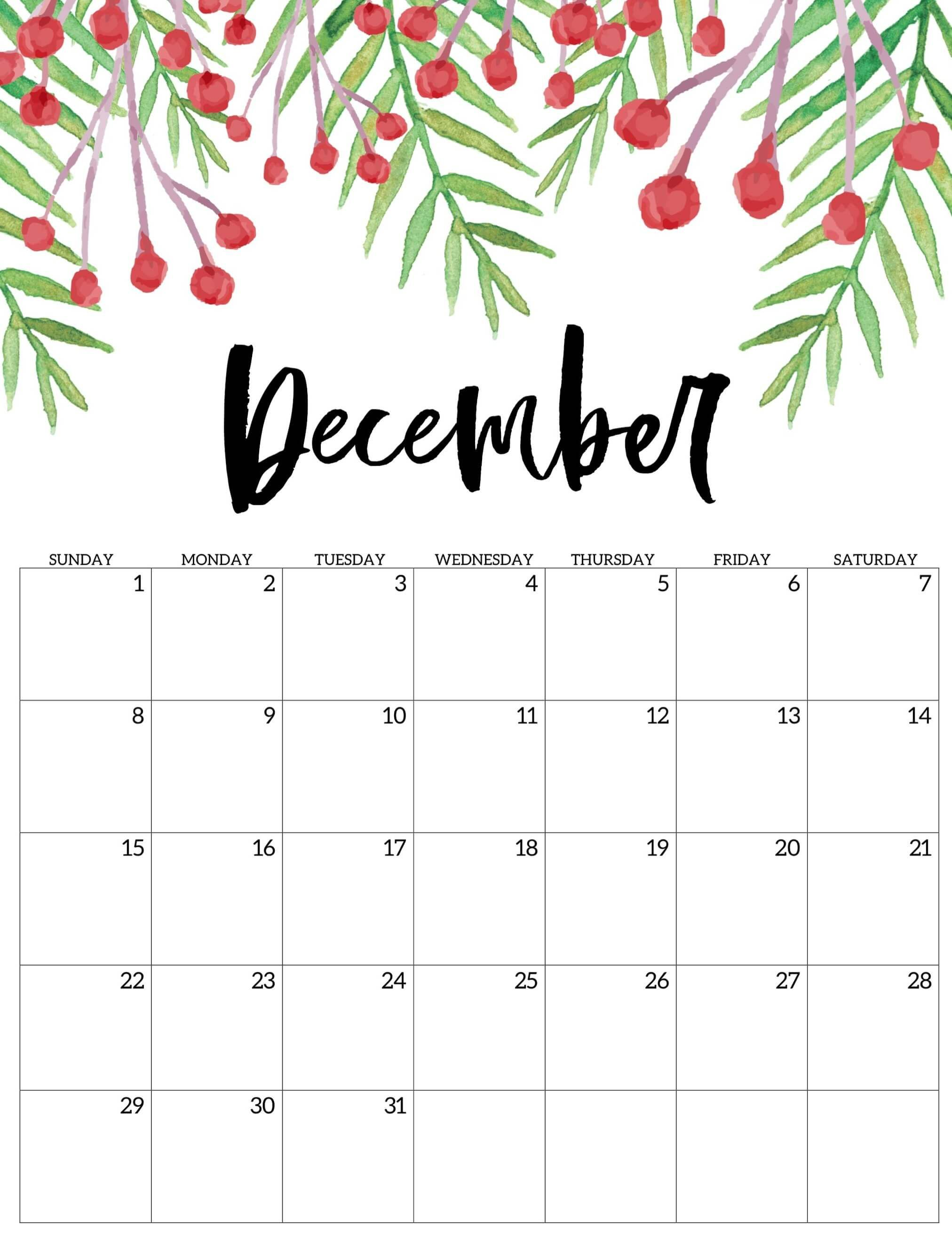Cute December 2019 Calendar Printable Hd Wallpaper Floral Design