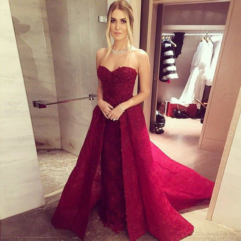 15cf3c9f7cc A-Line Sweetheart Sleeveless Sweep Train Red Lace Prom Dress with ...