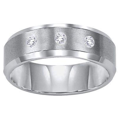 Triton Men S 8 0mm Diamond Accent Comfort Fit Tungsten Carbide Wedding Band Zales