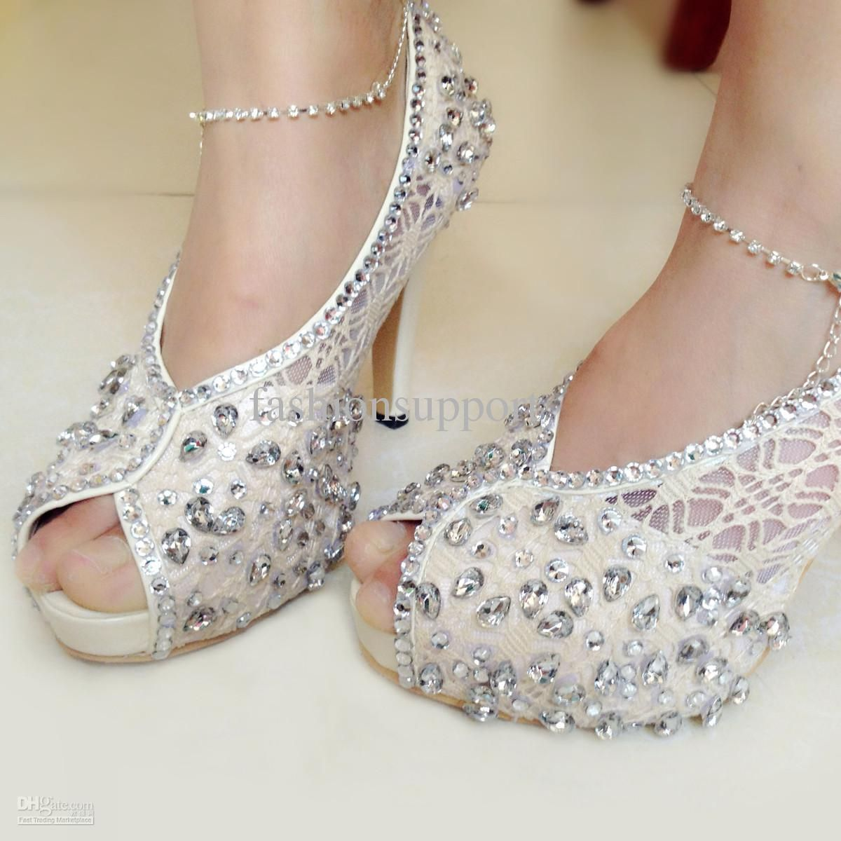 Princess Crystal Nude Colour Lace High Heels Peep Toe Wedding Shoes