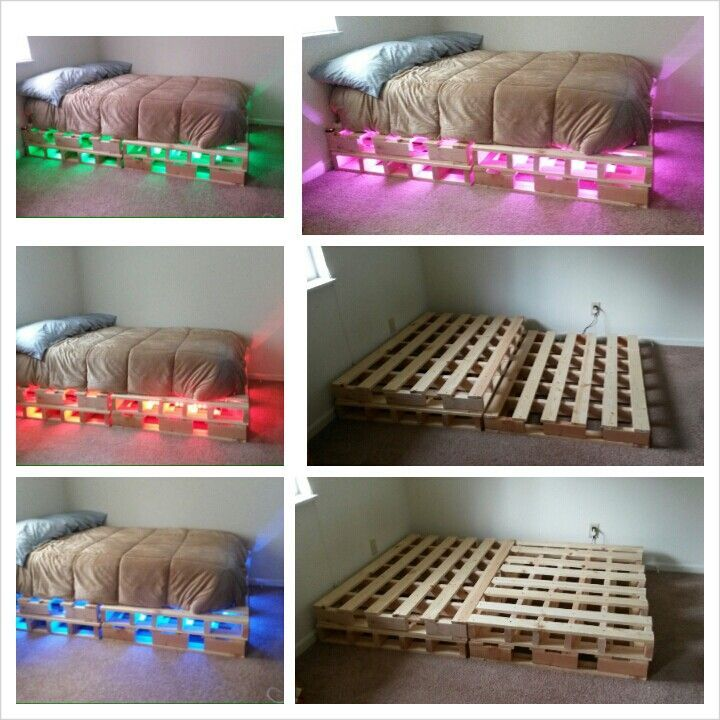 Pallet Bed With Lights pallet bed with led lights   projects i've done.   pinterest   pallets