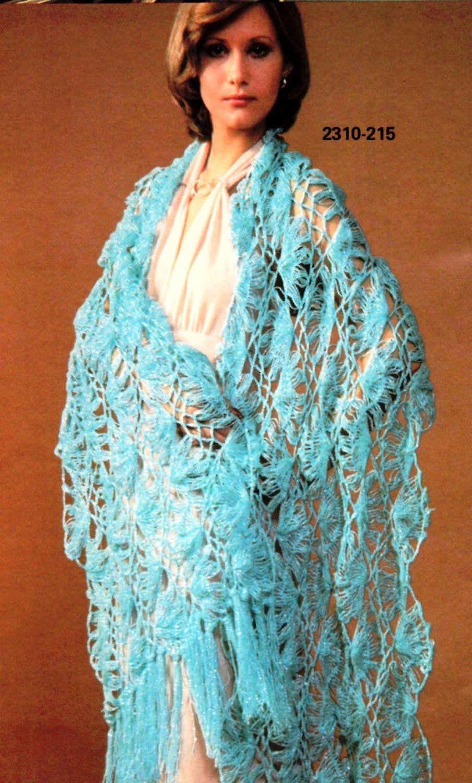 Shawl+Crochet+Patterns | Vintage Hairpin Lace Crochet Shawl Pattern ...