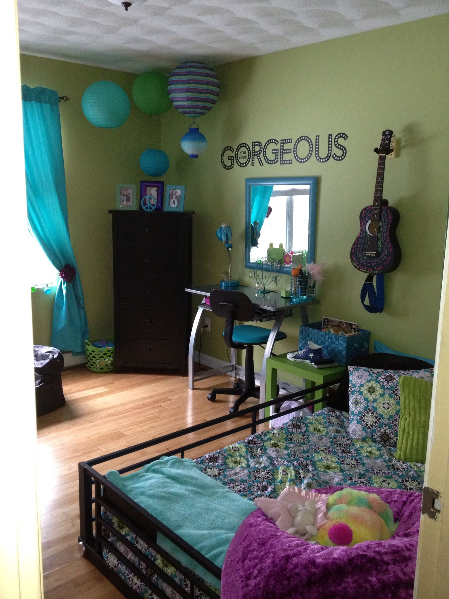 turquoise green and purple girls bedroom home design pinterest