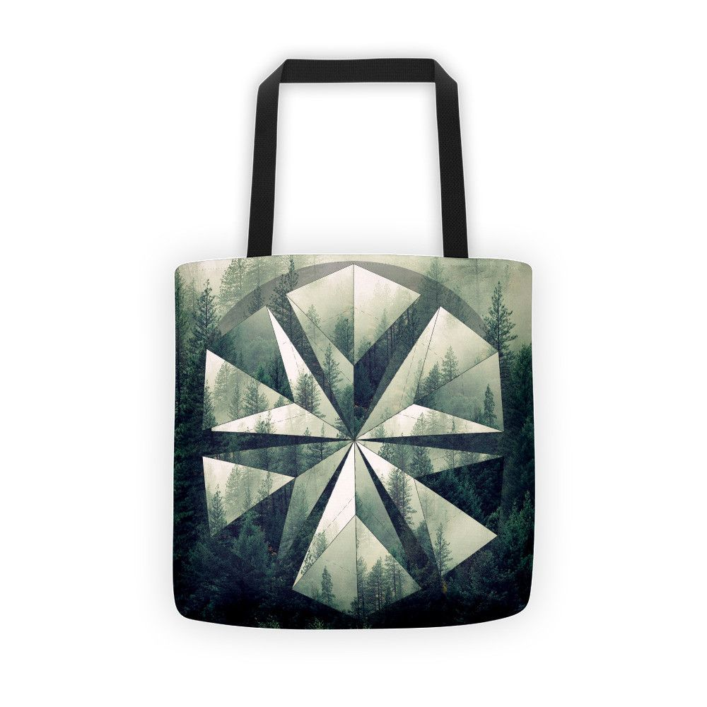 Forest Geometry Tote Bag Polyscape Mandala