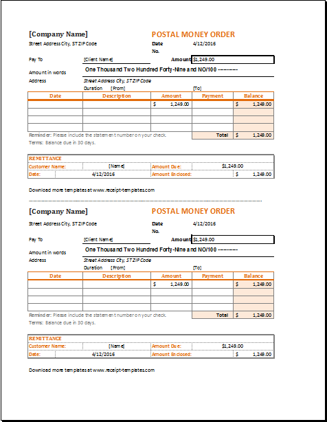 Money Order Receipt Template For Excel Receipt Template Templates Excel Templates