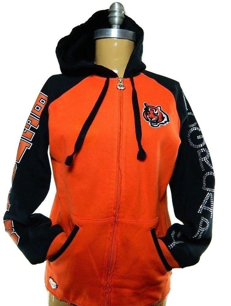 Women Reebok Cincinnati Bengals McGroarty Full Zip Bedazzled Hooded  Sweatshirt M  Reebok  CincinnatiBengals c3f6007d31