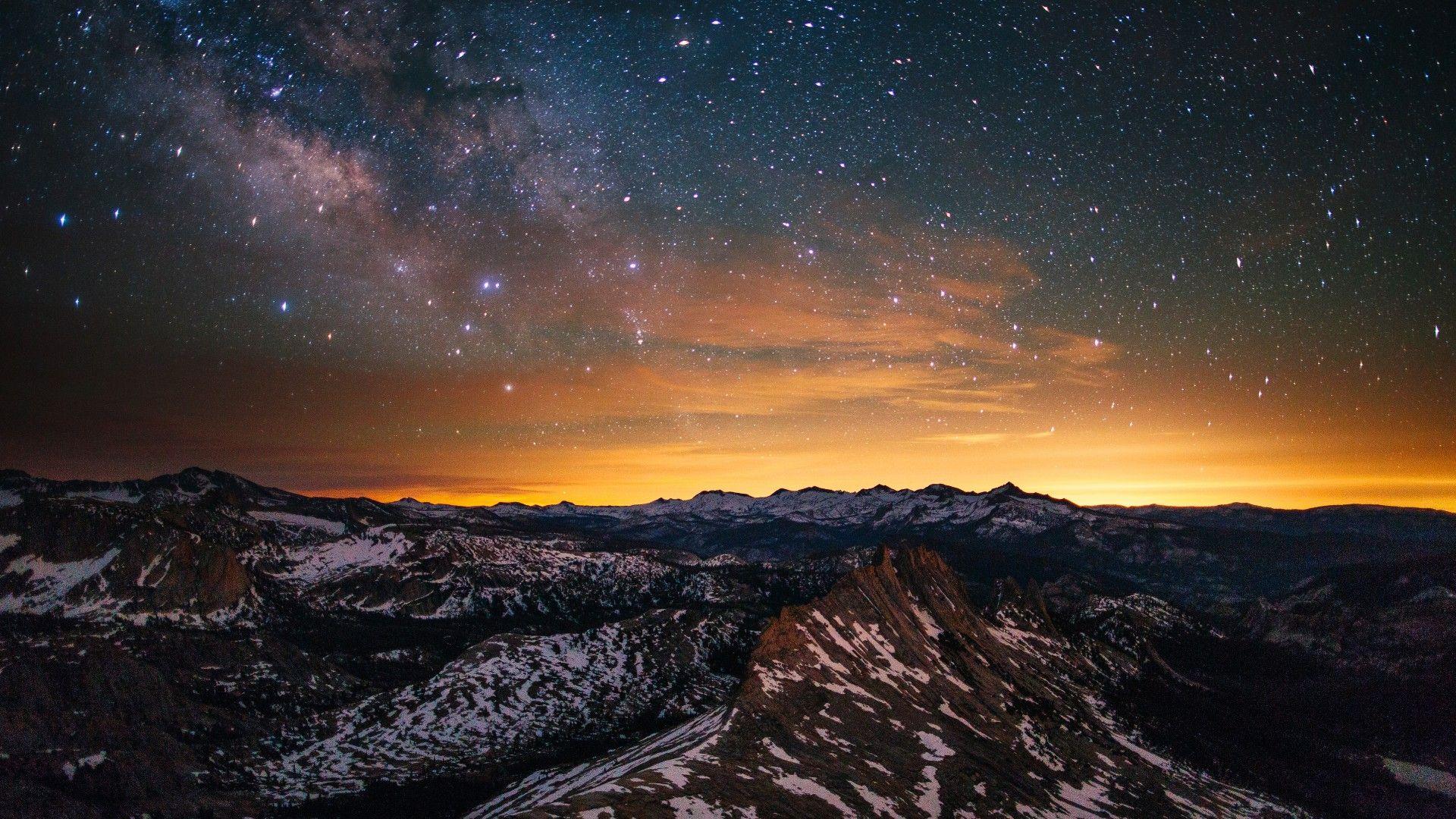 Yosemite, 5k, 4k wallpaper, 8k, forest, stars, sunset, OSX