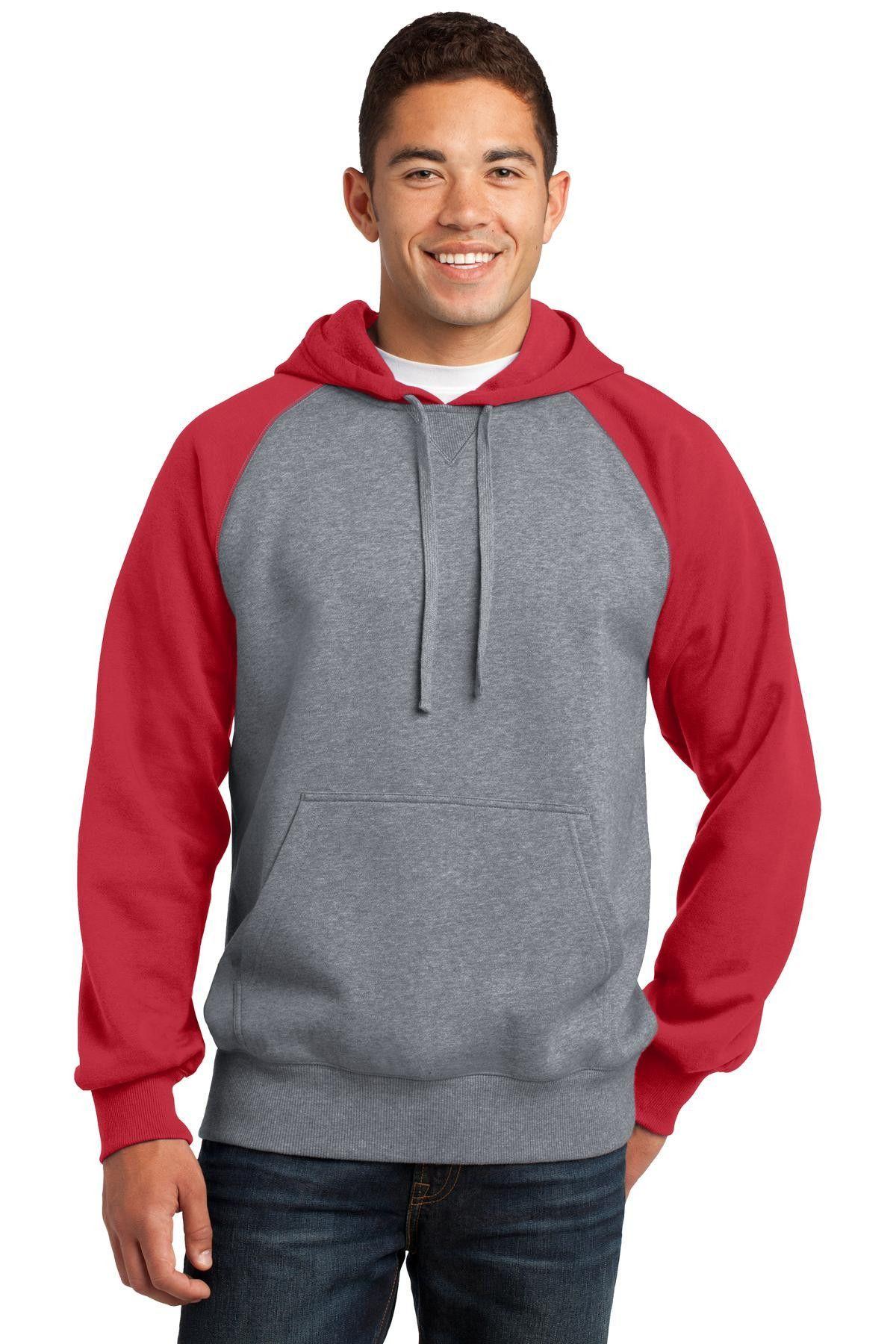 SportTek Raglan Colorblock Pullover Hooded Sweatshirt