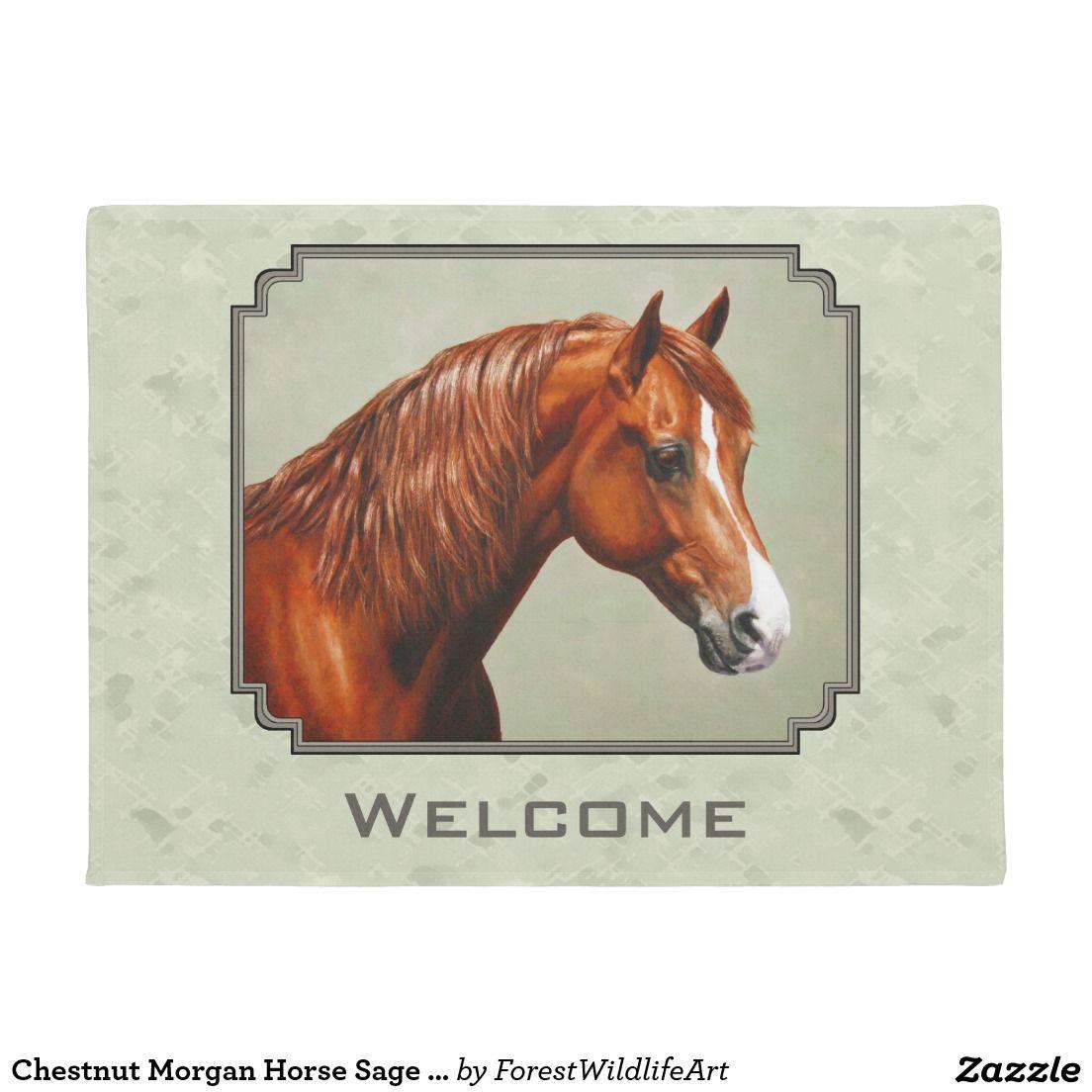 Chestnut Morgan Horse Sage Green Doormat   Doormats, Horses and Green