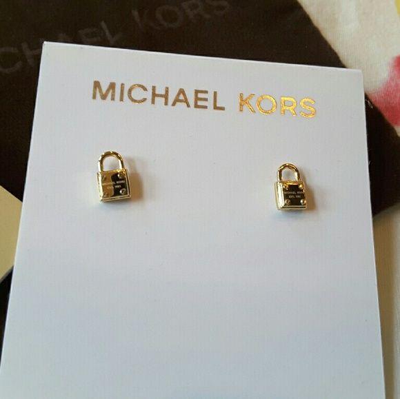 ebf44d8329c2b Michael Kors Gold Tone Padlock Stud Earrings NWT Michael Kors Gold ...
