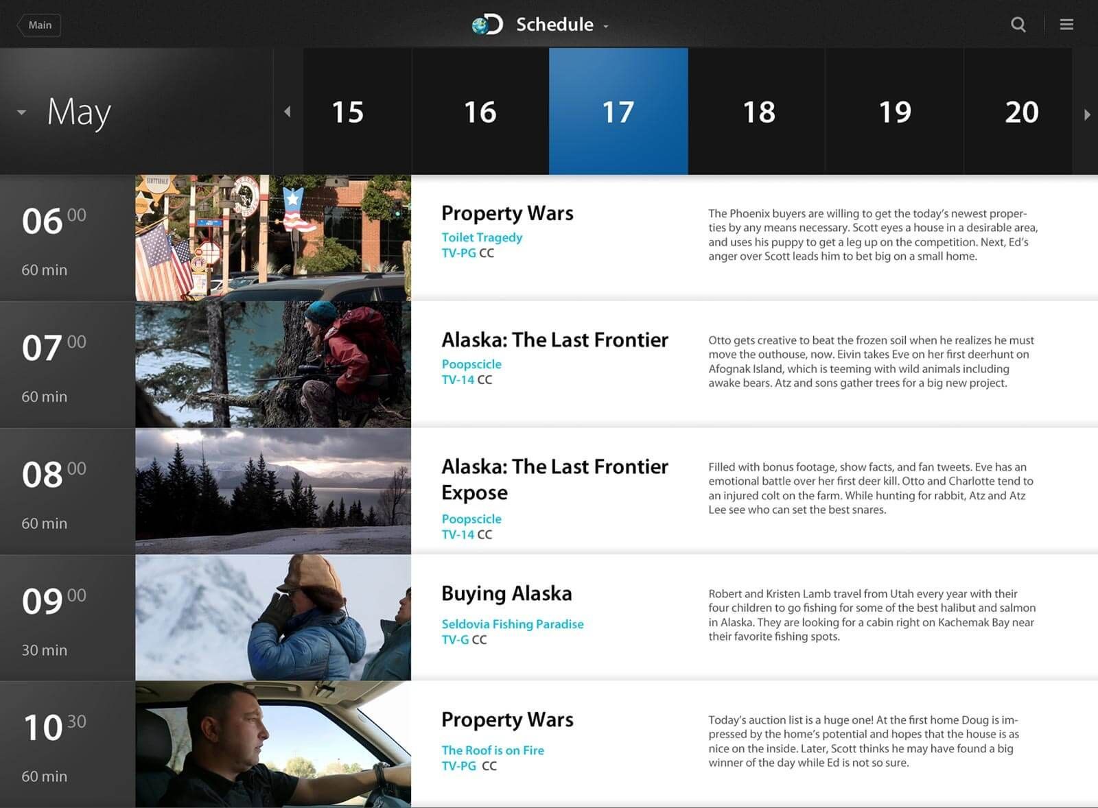 An alternative tv schedule screen for discovery channel