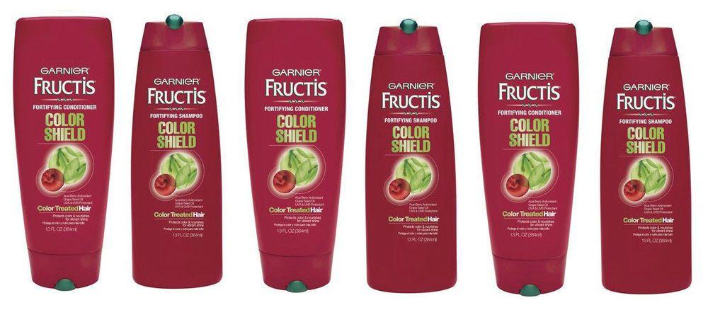 Lot 6 garnier fructis color shield shampoo conditioner