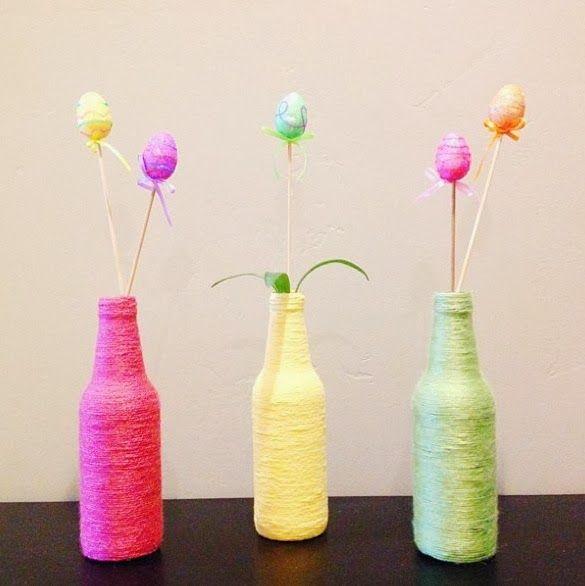 Ideas For Wine Bottle Decoration Spring  Easter Diy Yarn Wrap Bottle Tutorial  Easter  Pinterest