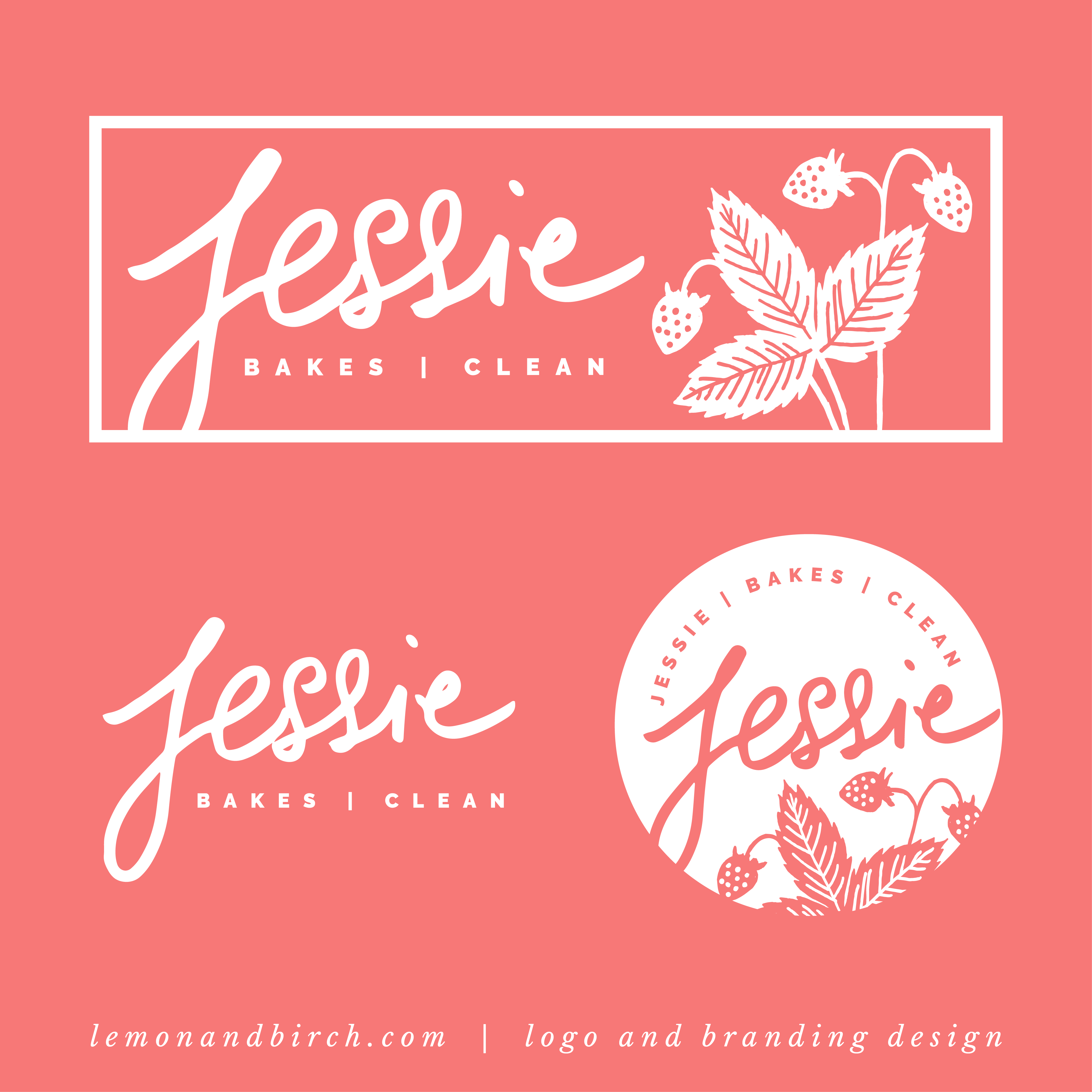 Beautiful Jessiebakesclean logo and brand identity | coral bright colour  IW85