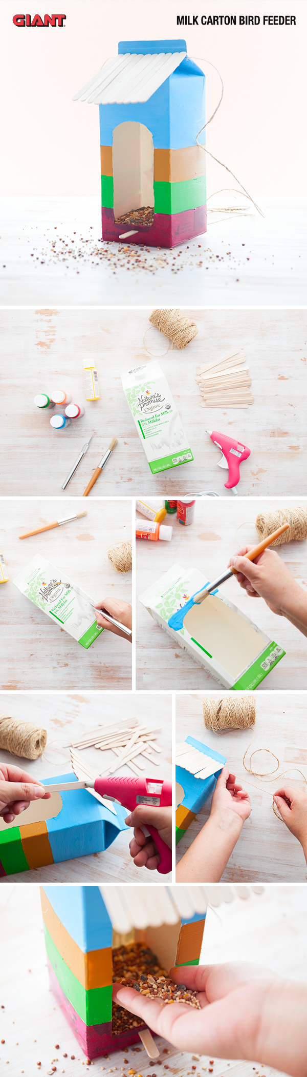 Turn your empty milk carton into a birdhouse in a few easy steps. Let the kids decorate it for some added fun.
