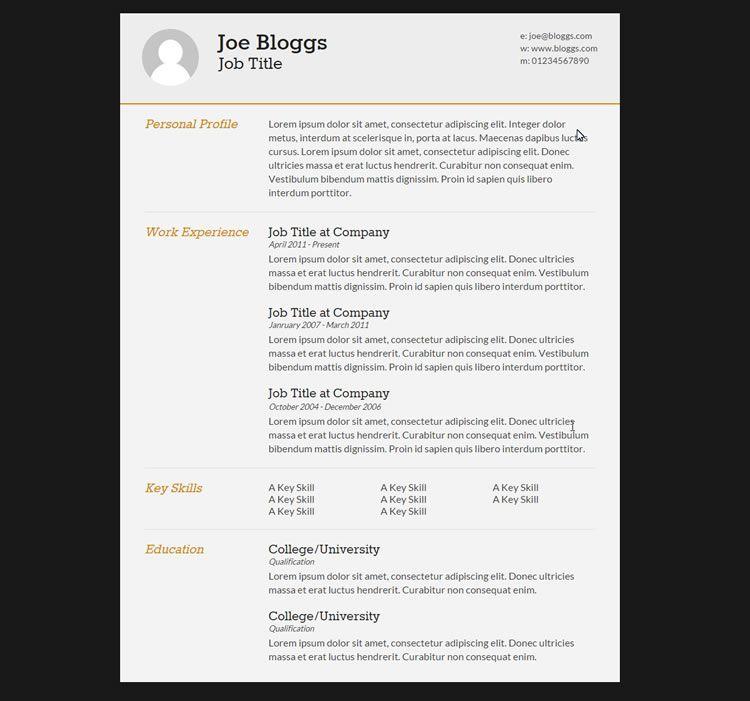10 Free Professional Html Css Cv Resume Templates Free Professional Resume Template Cv Resume Template Resume Template Professional