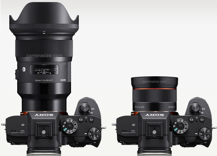Sigma 24mm F1.4 Art and Rokinon AF 24mm f/2.8 FE Lens Size ...