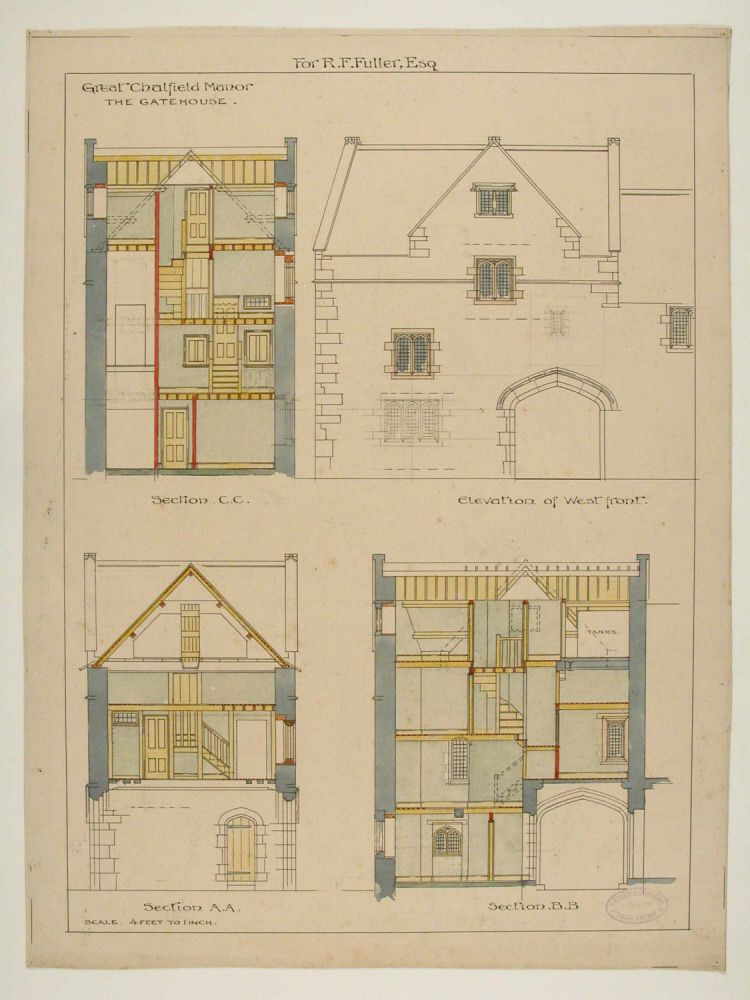 Manor House Drawing: Coloured Elevation Of The Gatehouse Of Great Chalfield