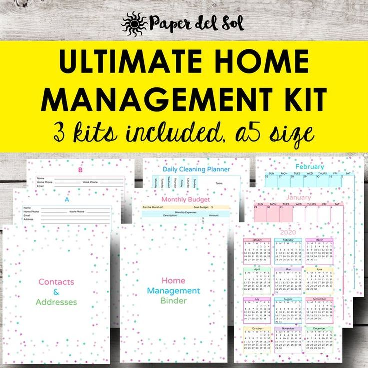Home Management Planner A5 Size, Address Book Printable