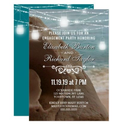 Teal String Lights Beach Engagement Party Card Beach engagement party