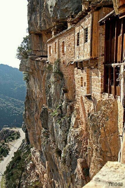 Built in the rocks monastery, in Greece