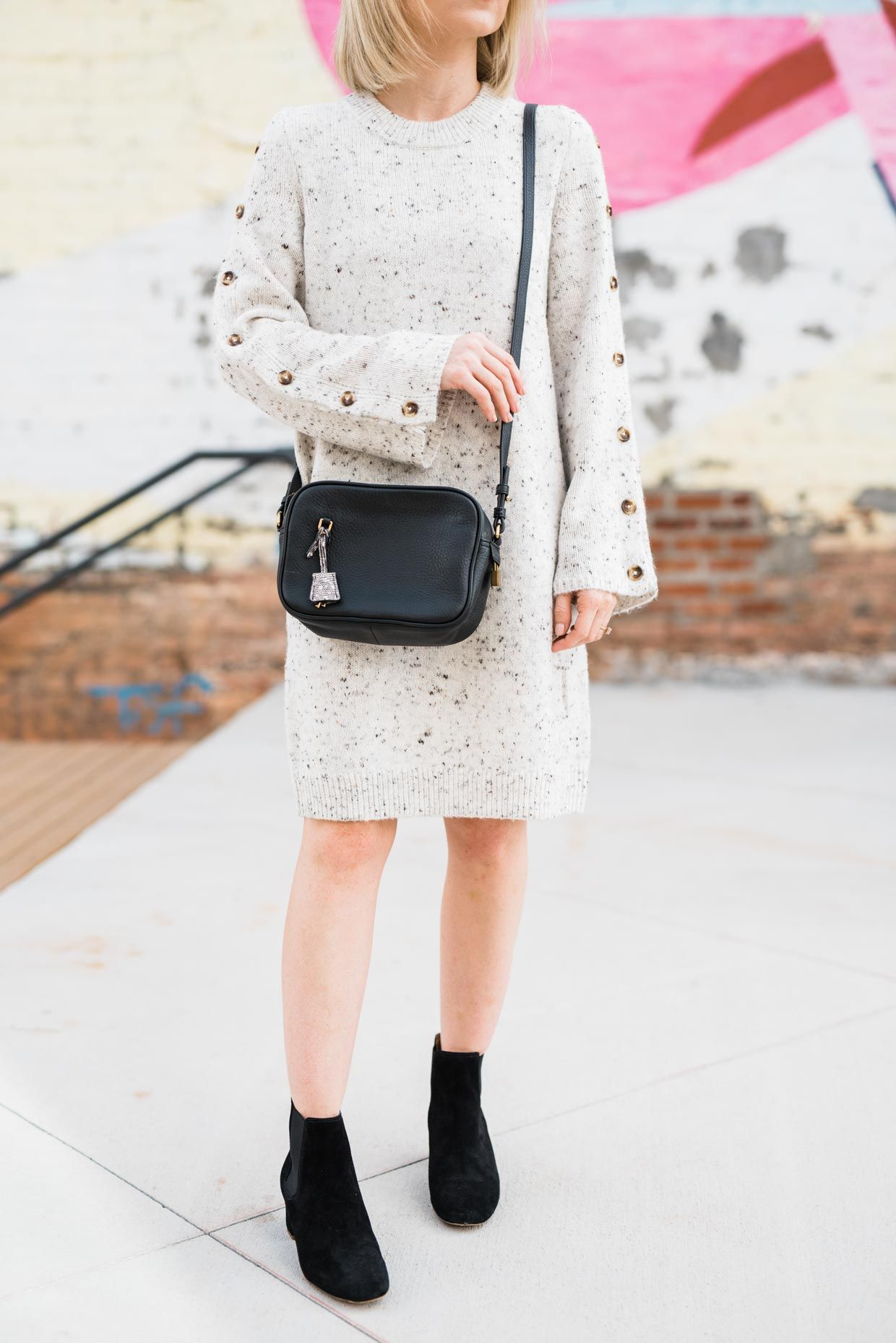 How To Wear A Sweater Dress With Boots Poor Little It Girl Dress With Boots Outfit Inspiration Fall Autumn Winter Fashion [ 1858 x 1240 Pixel ]