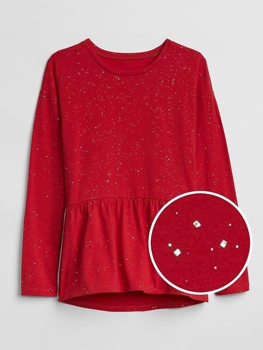 e45243d9b Gap Girls Sparkle Peplum Long Sleeve T-Shirt Modern Red