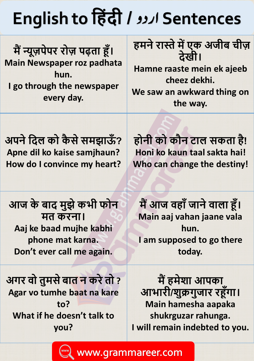English Sentences with Hindi Translation for Daily Used with ...