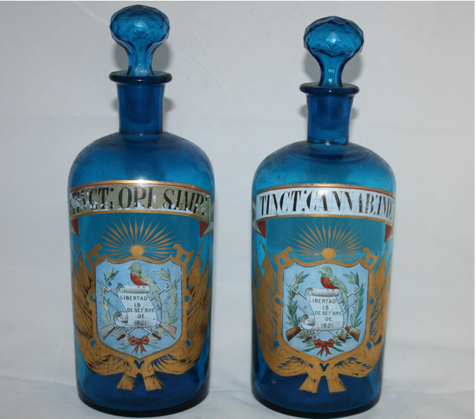 Antique Opium And Cannabis Apothecary Bottles Cures